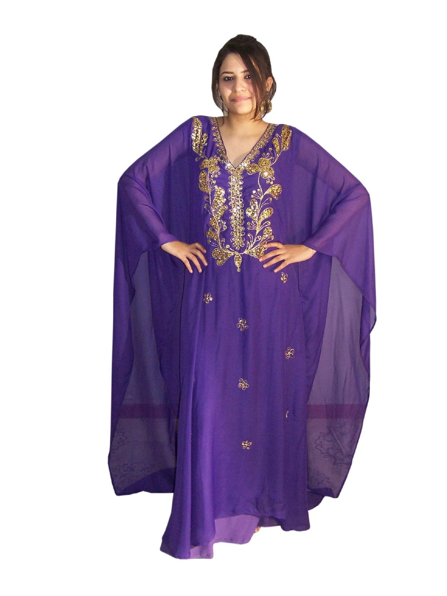 Abaya Arabisches Festkleid in lila, Orient Kleider aus