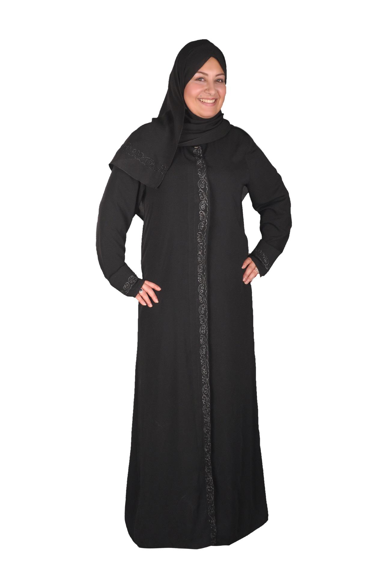 klassische abaya mit kopftuch egypt bazar shop f r islamische kleidung. Black Bedroom Furniture Sets. Home Design Ideas