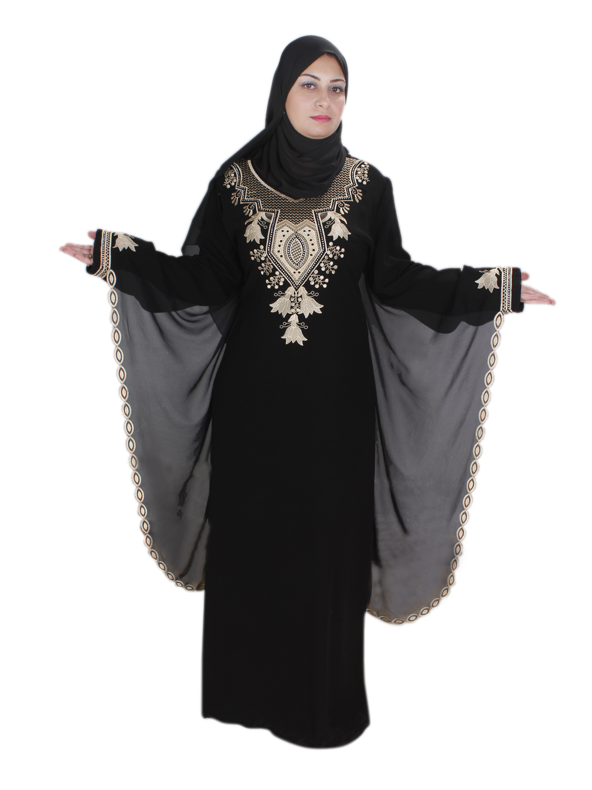 klassische abaya mit kopftuch egypt bazar shop f r orientalische arabische kleidung. Black Bedroom Furniture Sets. Home Design Ideas
