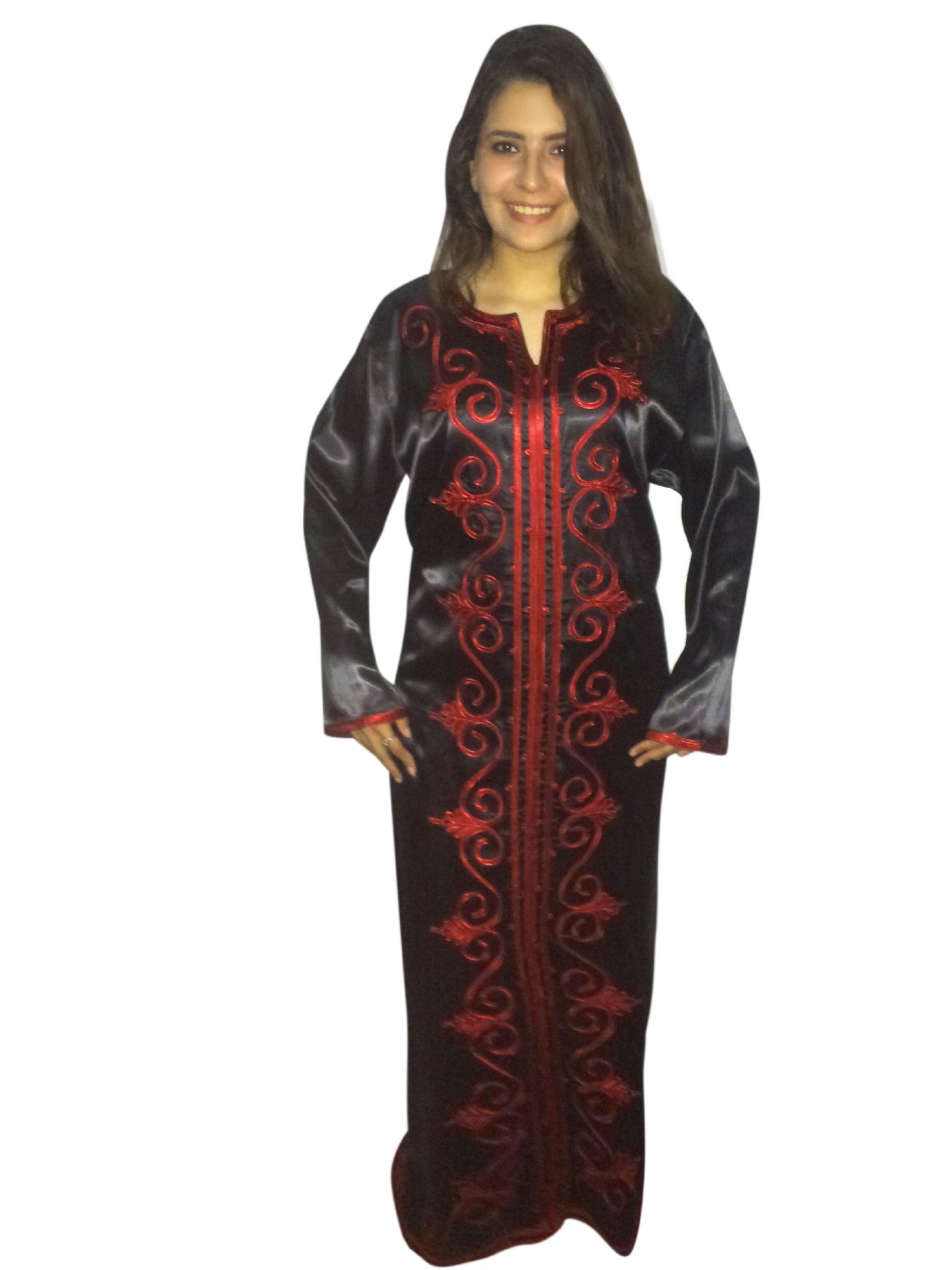Abaya schwarz-rot, Egypt Bazar Shop für orientalische arabische Kleidung