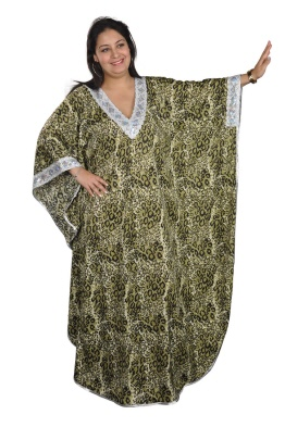 Damen Kaftan im Leoparden Look