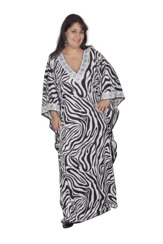 Damen Kaftan im zebra- Optik Animal Print- Caftan