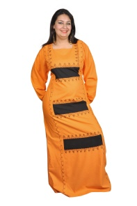 Kaftan in orange-nachtblau