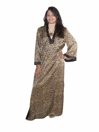 Satin-Kaftan-Kleid im Leoparden Look