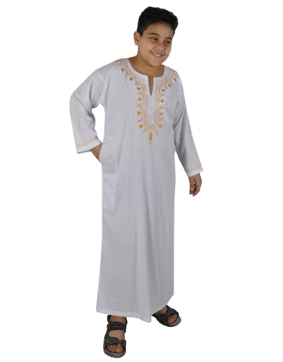 Kinder Kaftan in weiss-gold