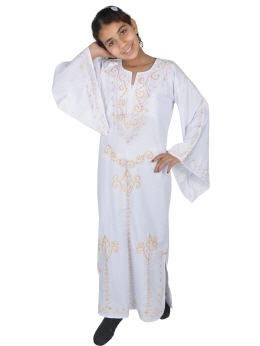 Kinder Kaftan weiss-gold  in 70er Look