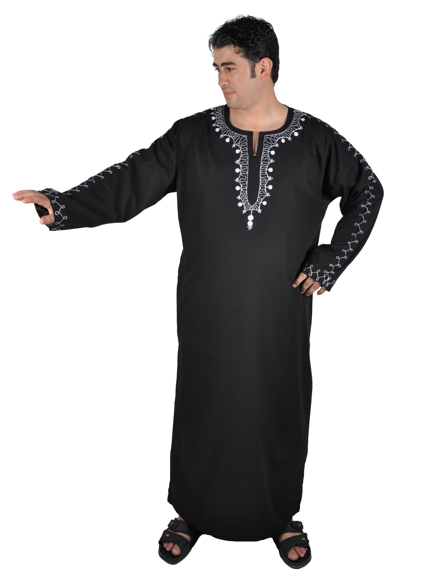 Herren Kaftan Tunika Kleid mit orientalischer Stickerei in nachtblau