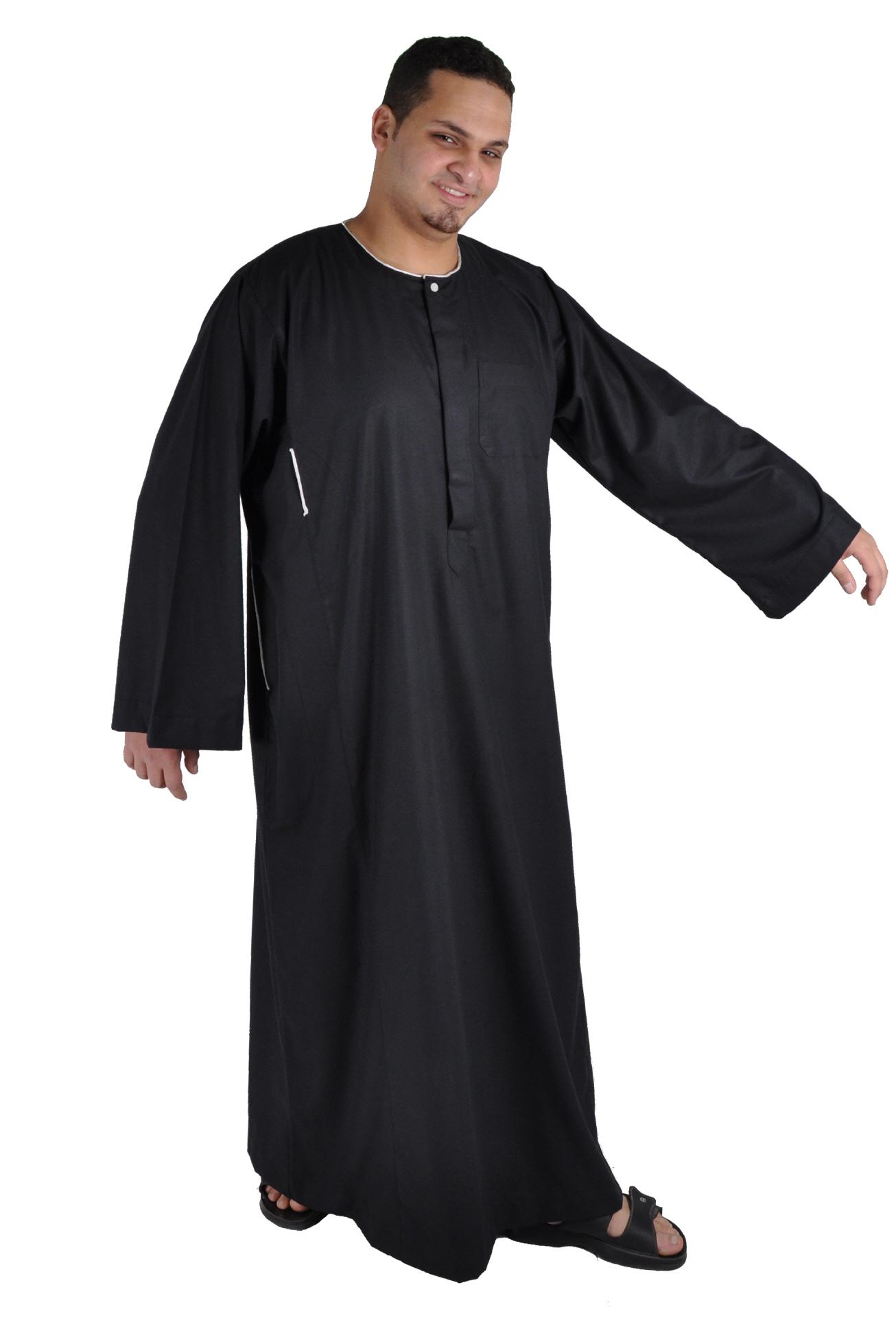 herren kaftan tunika kleid mit orientalischer stickerei in schwarz. Black Bedroom Furniture Sets. Home Design Ideas