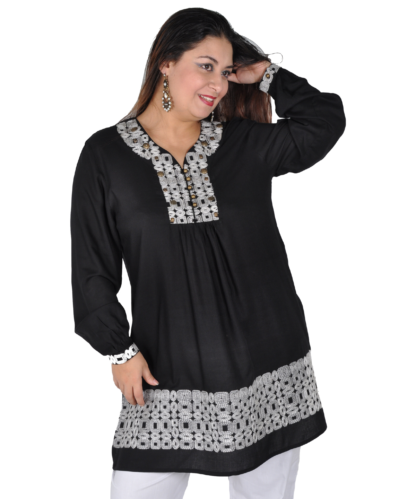 FT0052 Wunderschöne Orientalische Damen Tunika Bluse mit Stickerei in schwarz